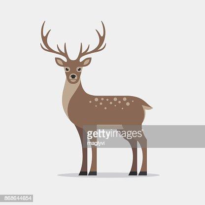 Deer illustration in flat style. : stock vector