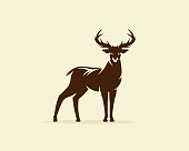 Deer illustration vector, reindeer or stag icon