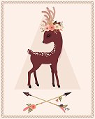 Elegant deer with floral wreath on a head and crossed arrows. Vector cartoon illustration.