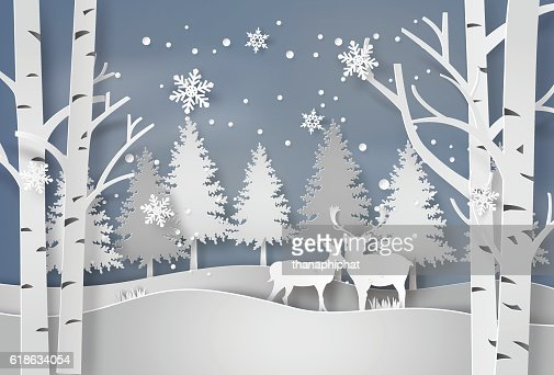 Deer in forest with snow. : Vector Art