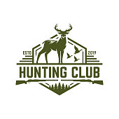 Deer or duck hunting badge, hunting emblem for hunting club and sports