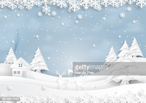 Deers joyful on snow and winter season with urban landscape paper art style : stock vector