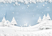 Deers joyful on snow and winter season with urban landscape background paper art style for merry christmas and happy new year.Vector illustration.