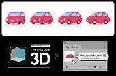 A set of deformer car.You can edit 3D with Adobe Illustrator.Adobe Illustrator version CS-CS6, CC is 3D editable. Double click on the material stored in the symbol panel.