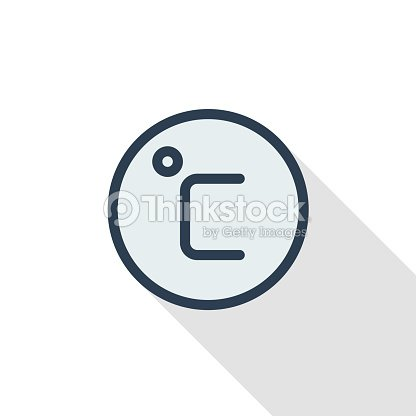 Degree Celsius Thin Line Flat Color Icon Linear Vector Symbol