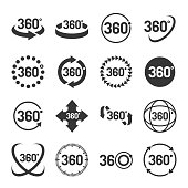 360 Degree Icons Set on White Background. Vector illustration