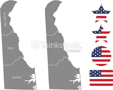 Delaware County Map Vector Outline In Gray Background Delaware State ...