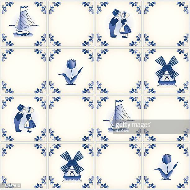 Delft blue tile pattern swatch