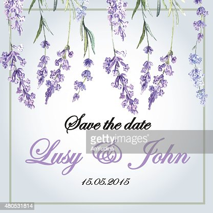 Delicate wedding invitation with lavender flowers : Vector Art
