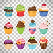 Delicious cupcakes and vector sprinkles muffin set isolated on transparent background