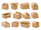 Delivery and shipping carton package. Brown cardboard boxes vector set. Cardboard box for transportation and packaging illustration