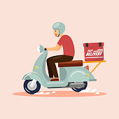 Delivery Boy Ride Scooter. Vector illustration