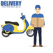 Delivery man and track. Service fast delivery. Delivery scooter. isolated on background. Vector illustration. Eps 10.