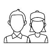 delivery man and woman portrait people worker vector illustration
