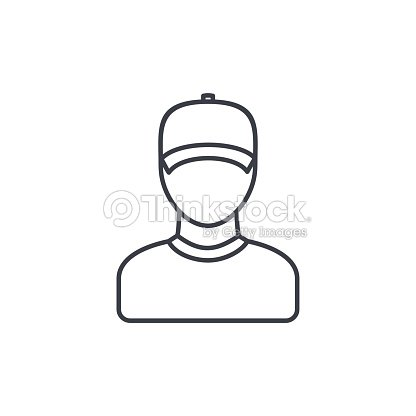 6b841b41953ac Delivery Man In Cap Courier Thin Line Icon Linear Vector Symbol ...