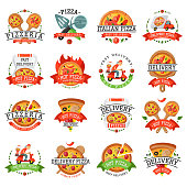 Delivery pizza badge vector illustration. Food and drink elements typographic design label or sticker bakery. Cooking cafe menu symbol with traditional lunch delicious.