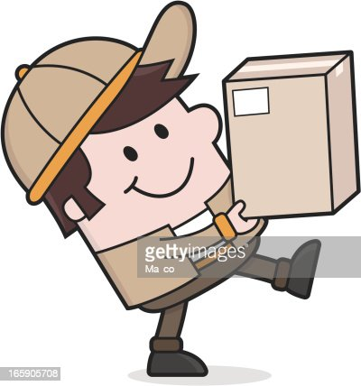 Delivery Service Deliveryman Brings A Package Vector Art