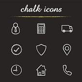 Delivery service chalk icons set. Vector. Manager, calculator, delivery truck, approved sign, shield, gps pinpoint, clock, house, contact us symbol