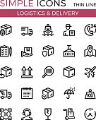 Delivery, transportation, logistics, shipping vector thin line icons set. 32x32 px. Modern line graphic design for website, web design, mobile app, infographics. Pixel perfect vector outline icons set
