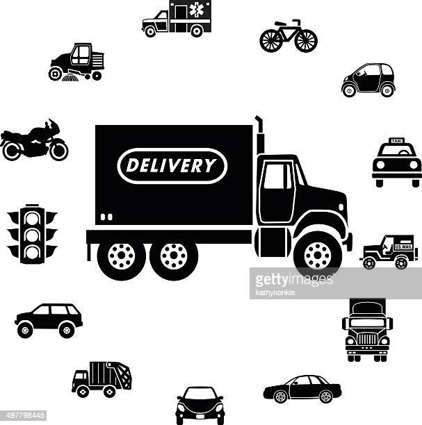 delivery truck and transportation icon ring border