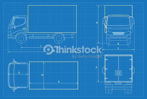 Delivery truck schematic or van car blueprint vector illustration delivery truck schematic or van car blueprint vector illustration truck car in outline business vehicle template vector view front rear side top malvernweather Gallery