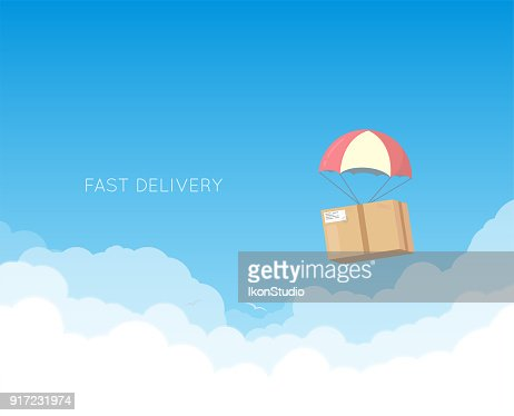 Delivery with parachute : stock vector