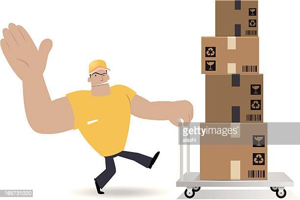 Deliveryman Moving Cardboard Box With Hand Truck
