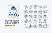 Set of Delivery-Outline-B03 Icons Vetor