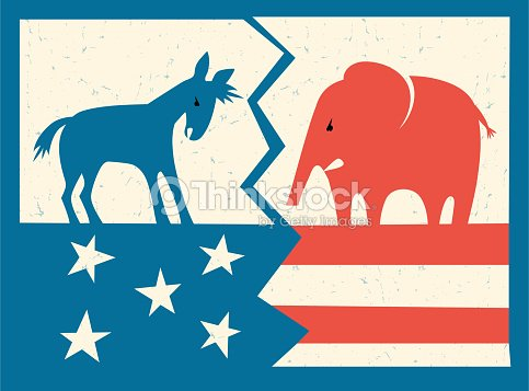 democratic donkey and republican elephant standing on fractured