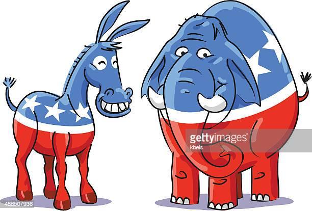 Demokratische und Republikanische Elephant Esel