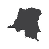 Democratic Republic of the Congo map silhouette on the white background. Vector illustration