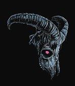 Vector illustration of demonic goat skull.
