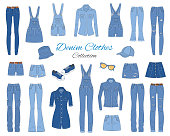 Denim clothes collection. Different types of blue jeans pants, jeans jacket, shirt, shorts, skirts, overalls, cap and sneakers, isolated on white background, sketch vector illustration.