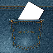 vector jeans pocket with a credit card or calling card