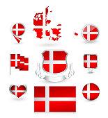 Denmark Flag Collection. Vector icon set.