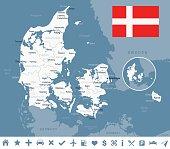Denmark map and flag - vector illustration