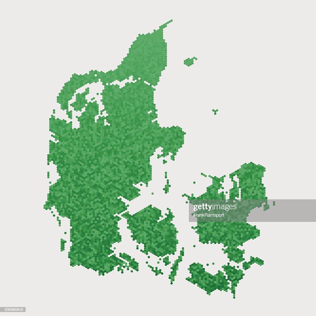 Denmark Map Green Hexagon Pattern : Vector Art