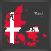 Denmark map with Danish national flag illustration