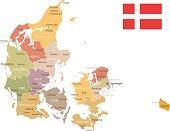 Denmark vintage map and flag - vector illustration