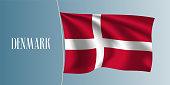 Denmark waving flag vector illustration. Red white cross as a national Danish symbol
