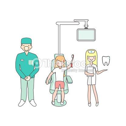 Cuidado dental m dico odont logo enfermera y paciente en for Silla odontologica
