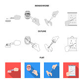 Dental care, wound treatment and other  icon in flat,outline,monochrome style.oral treatment, eyesight testing icons in set collection.