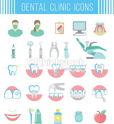 Dental Clinic Services Flat Icons On White Vector Art