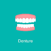 Denture icon. Dental prosthesis, tooth orthopedics sign. Teeth image. Medicine symbol for info graphics, websites and print media. Vector Flat clinic icon.