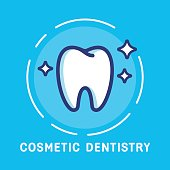 Health Dent Logo design vector template flat line style. Cosmetic dental dentistry. Dental clinic Logotype concept icon. Health tooth poster or card.