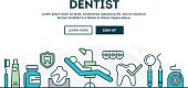 Dentist, colorful concept header, flat design thin line style, vector illustration