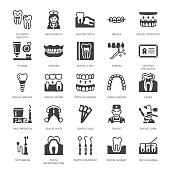 Dentist, orthodontics flat glyph icons. Dental equipment, braces, tooth prosthesis, veneers, floss, caries treatment medical elements. Dentistry clinic Solid silhouette pixel perfect 64x64.