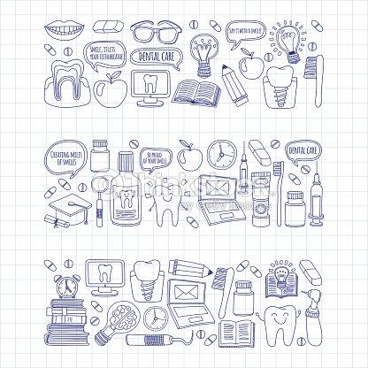 7b107c68c Dentista Vector conjunto de ícones de desenhos de crianças de cuidados  dentários   arte vetorial