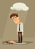 Depressed sad office worker character. Vector flat cartoon illustration