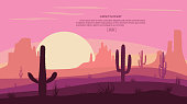 Desert landscape Cactuse and mountains , sunset in cannon, Background scene with stones and sand. Flat cartoon vector